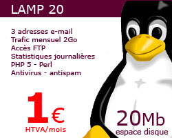 hébergement php 20Mo 1 €/mois